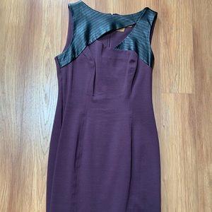 Ali Ro purple mini dress w/cut out & faux leather